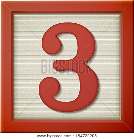 3D Red Number Block 3
