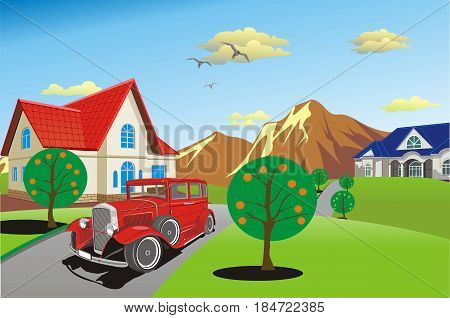 Retro car on a country road. Countryside. The road to the cottage. Vector illustration
