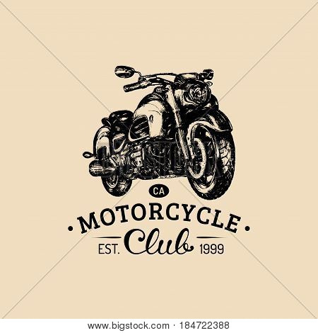 Motorcycle Club advertising poster. Vector hand drawn motorcycle for MC sign, label. Vintage detailed bike illustration for custom, chopper garage logo.