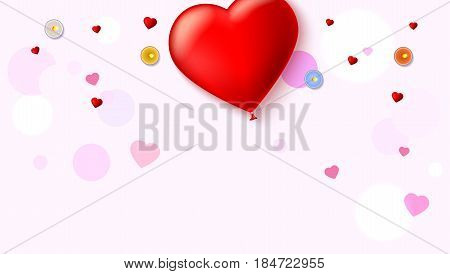 Red inflatable balloon in the shape of a heart with candles, tinsel and confetti on white background. Template for creative persons. Best background for holiday, vacation, festive greetings cards.