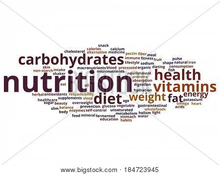 Concept or conceptual nutrition health diet abstract word cloud isolated background. Collage of carbohydrates, vitamins, fat, weight, energy, antioxidants beauty medicine, mineral, protein text