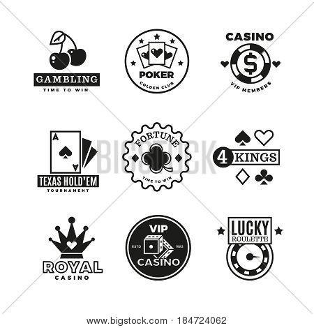 Vintage gambling, casino, poker royal tournament, roulette vector labels, emblems, logos and badges. Poker game logo, illustration of gamble game emblem