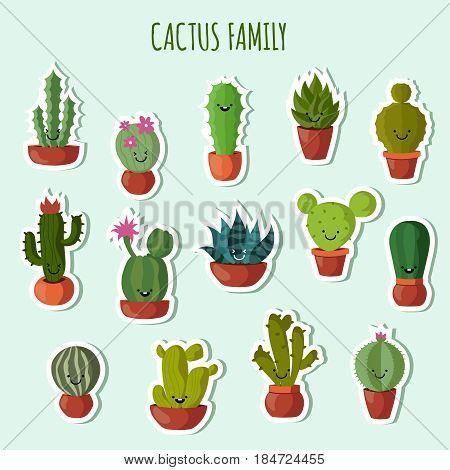 Funny plants vector collection. Cute cactus with happy faces garden patches or stickers. Set of blossom cactus in pot, illuystration of family cactus