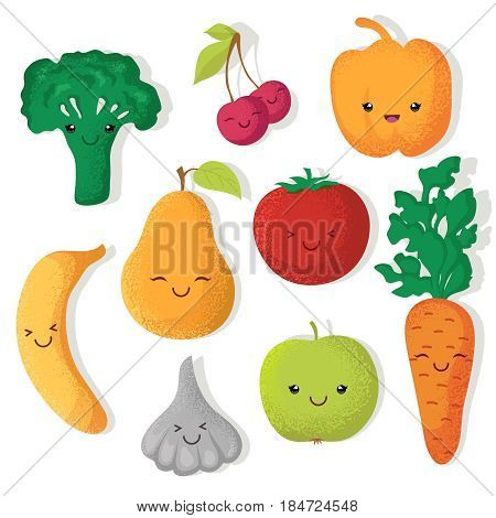Cartoon funny fruits and vegetables vector characters. Vegetable and fruits, tomato and pear fruit illustration