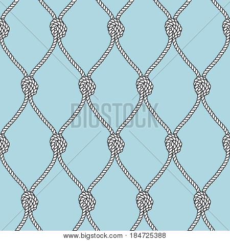 Marine rope fishnet with knots seamless vector background. Nautical repeating texture. Marine rope net, illustration of marine knotes node vintage