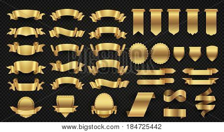 Wrapping gold banner ribbons, elegant golden design elements. Ribbon and sticker shield, classic frame ribbon tag illustration