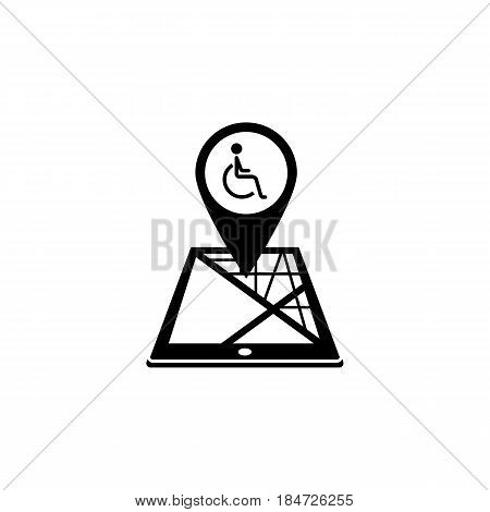 Invalid map pointer solid icon, mobile gps navigation and location, disability pin on tablet vector graphics, a filled pattern on a white background, eps 10.
