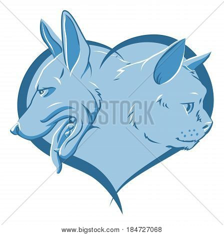 A conceptual illustration of a stylised heart with pet dog and cat faces
