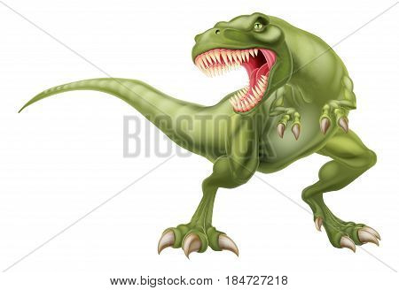 An illustration of a mean looking tyrannosaurs rex t rex dinosaur