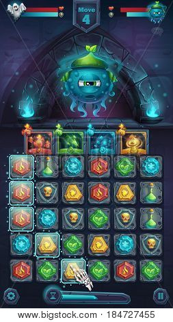 Monster battle GUI slug nature playing field match 3 - cartoon stylized vector illustration mobile format window with options buttons game items.