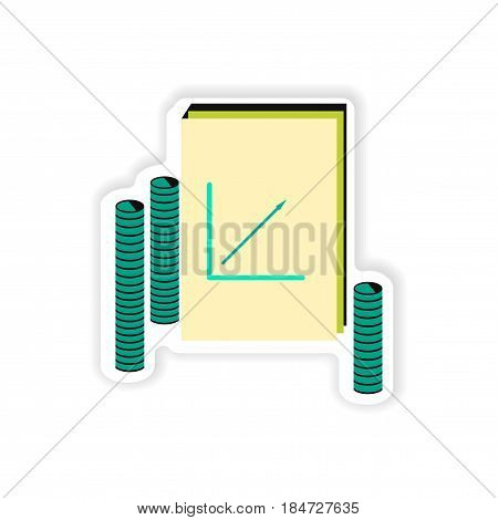 stylish sticker on paper Report and coins