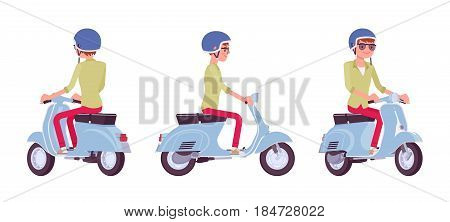 Handsome young man riding a blue motorized scooter, wearing helmet, having great fun, adventure and city job, vector flat style cartoon illustration, isolated, white background, front, side, rear view