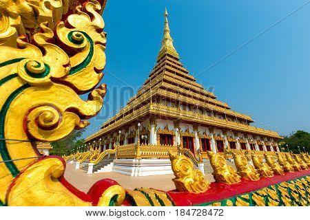 Golden pagoda at the Thai temple, Khon kaen Thailand