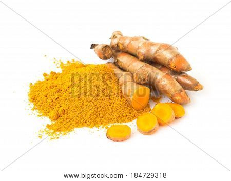 Turmeric power and fresh turmeric roots on white background herb and healthy care concept