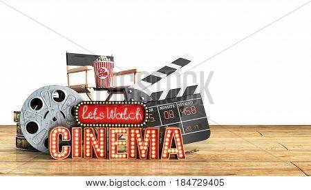 Cinema Had Light Concept Nave Lets Watch Cinema 3D Render Wood Flor Background
