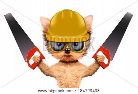 Funny dog with saw and safety glasses isolated on white background. Constructor and handyman concept. 3D illustration