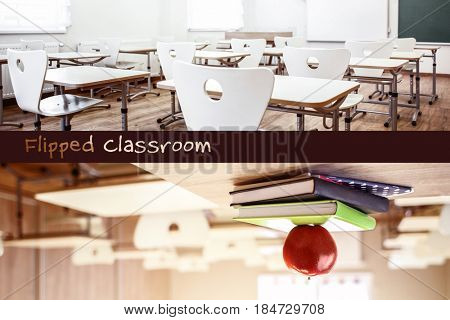 Flipped classroom concept. Interior of school room