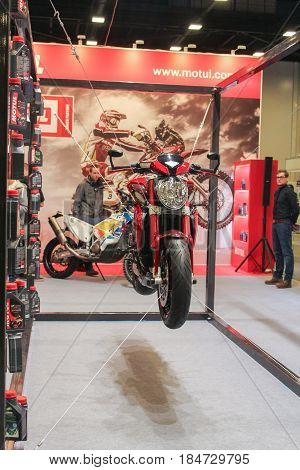 St. Petersburg Russia - 15 April, Suspended on the bikes,15 April, 2017. International Motor Show IMIS-2017 in Expoforurum. Motorcycles and motoconcepts presented at St. Petersburg Motor Show.