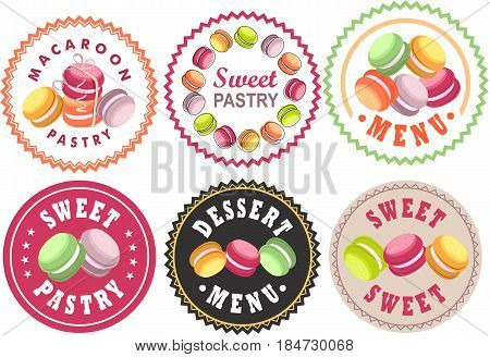 Vector set Labels of bakery bakery shop sweets round shape quality sign macaroons