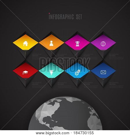 Infographic template with set of colorful icons above polygonal world - dark version.