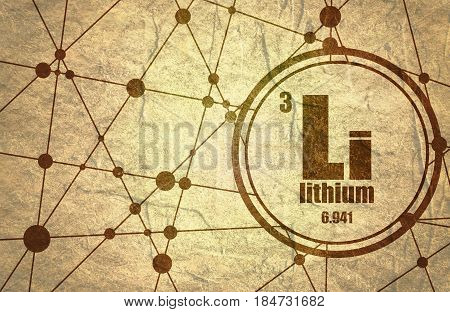 Lithium chemical element. Sign with atomic number and atomic weight. Chemical element of periodic table. Molecule And Communication Background. Connected lines with dots. Grunge texture