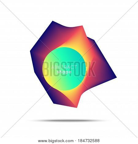 Vector abstract shape. Smooth flow of abstract polygon in a circle. Flow of bright color. Flayer, poster, logotype design.