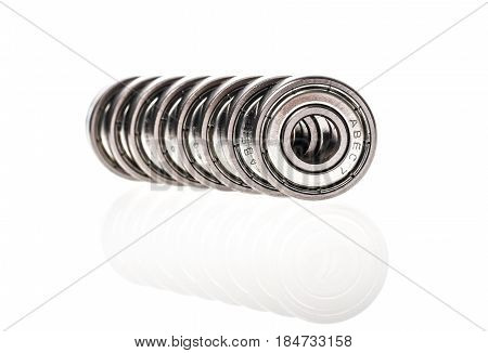 New Replacement Roller Skate Bearings Isolated On White Background.