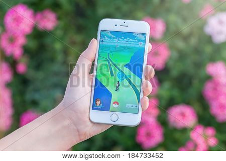 Varna Bulgaria - Jul 19 2016: Nintendo Pokemon Go augmented reality mobile application game with pokestop on the map on Apple iPhone 6S in female hand. Blurred flowers view on the background.