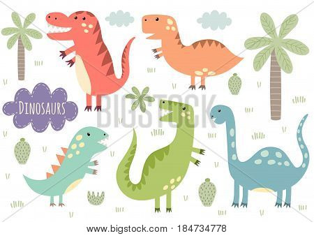 Vector set of cute isolated dinosaurs. Great for baby shower and kids design. Dinos, palm, cactus, cloud, plants. Vector illustration