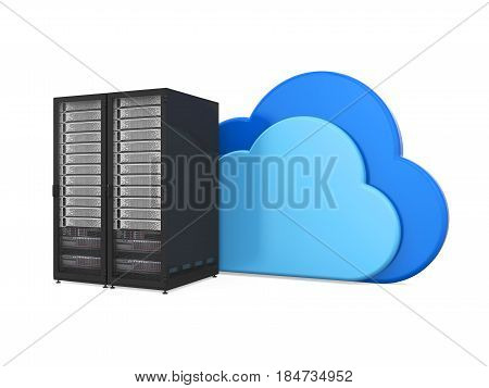 Cloud Computing Symbol with Server Rack isolated on white background. 3D render