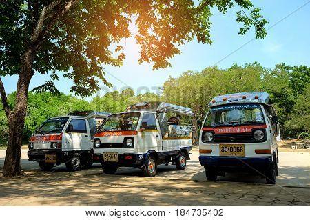Phetchaburi THAILAND - May 2017: Minibus service at Khao Luang Cave Phetchaburi Province Thailand.