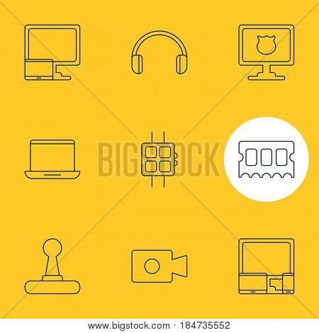 Vector Illustration Of 9 Computer Icons. Editable Pack Of Modern Watch, Game Controller, Memory Chip And Other Elements.