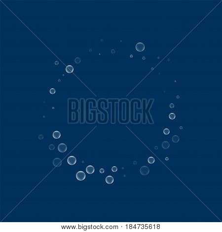 Soap Bubbles. Small Round Shape With Soap Bubbles On Deep Blue Background. Vector Illustration.