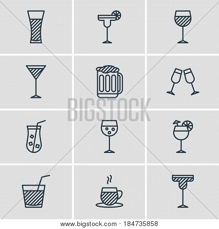 Vector Illustration Of 12  Icons. Editable Pack Of Champagne, Drink, Draught And Other Elements.