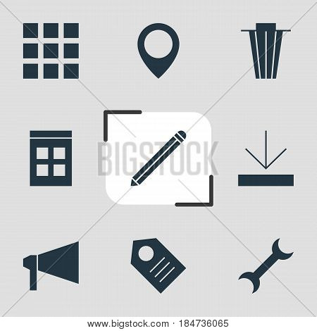 Vector Illustration Of 9 Internet Icons. Editable Pack Of Settings, Bullhorn, Trash And Other Elements.