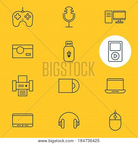 Vector Illustration Of 12 Technology Icons. Editable Pack Of Media Controller, Usb Card, Joypad And Other Elements.