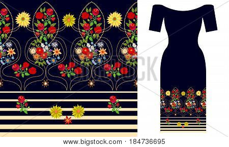 Seamless vector pattern with roses and wildflowers. Summer textile collection