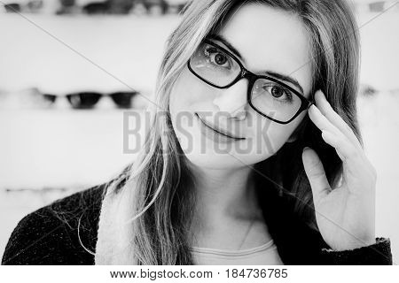 Face Of Young Woman With Glasses