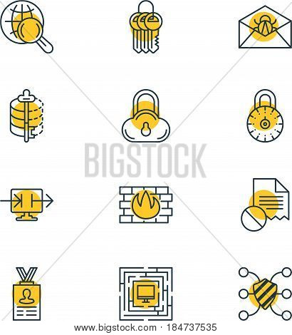 Vector Illustration Of 12 Data Protection Icons. Editable Pack Of Safeguard, Encoder, Account Data And Other Elements.