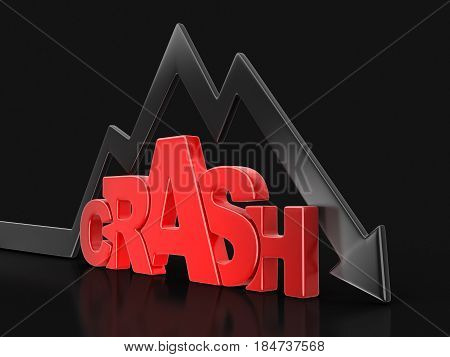 3D Illustration. Word crash with arrow down. Image with clipping path