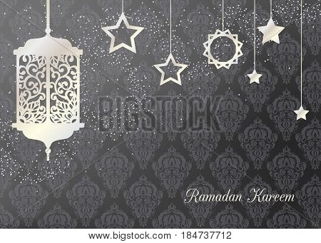 Arabic traditional pearl lantern and stars. Card invitation for muslim month Ramadan Kareem. Festive vector illustration background.
