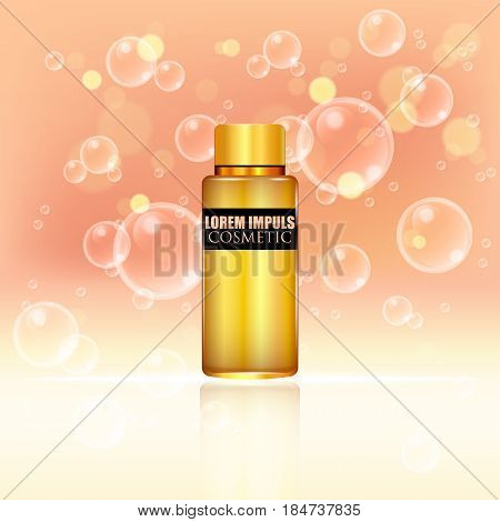 Cosmetic ads. Gold bottle package design with moisturizer cream or liquid. 3D vector illustration.