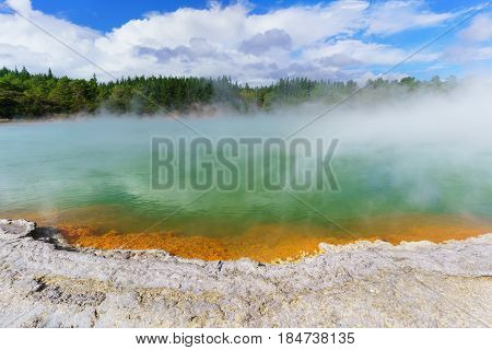 The famous Champagne Pool Wai-O-Tapu geothermal area Rotorua North Island of New Zealand