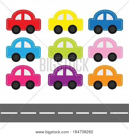 Cartoon car set with dash line and horizontal road. Baby kids style. White background. Isolated. Flat design. Vector illustration.