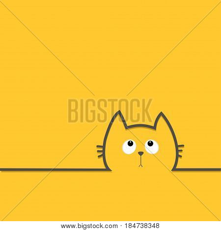 Black cat head face with eyes looking up. Contour silhouette line icon. Cute cartoon character. Kitty kitten with whisker Baby pet Yellow background. Isolated Flat design Vector illustration