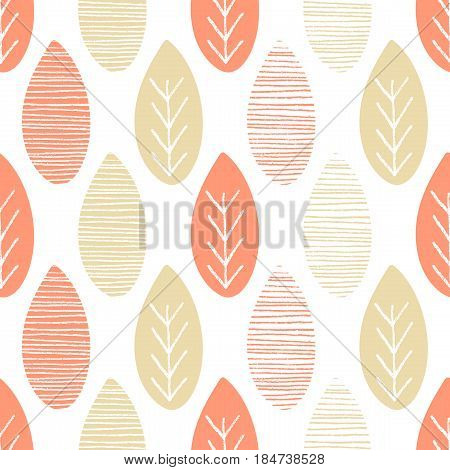 Seamless nature vector pattern. Salmon and beige leaves with lines and twigs on white background. Hand drawn abstract autumn ornament