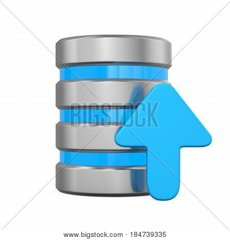 Database Icon with Upload Arrow isolated on white background. 3D render