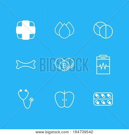 Vector Illustration Of 9 Medical Icons. Editable Pack Of Medicine, Trickle, Pulse And Other Elements.