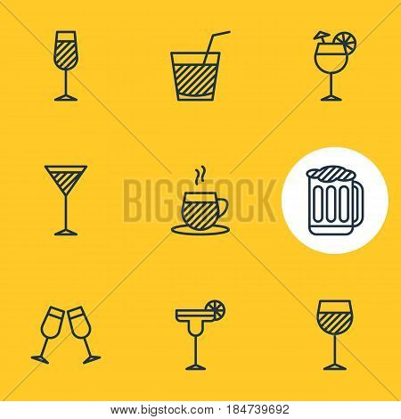 Vector Illustration Of 9 Beverage Icons. Editable Pack Of Beverage, Celebrate, Draught And Other Elements.