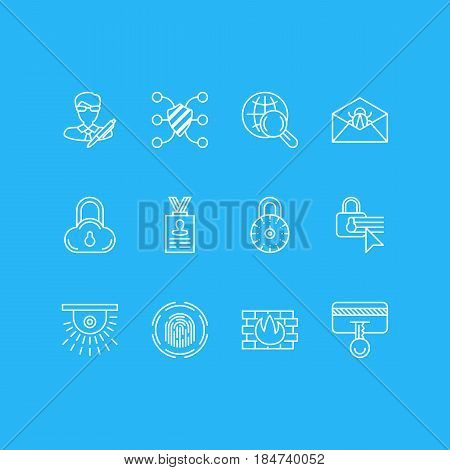 Vector Illustration Of 12 Privacy Icons. Editable Pack Of Corrupted Mail, Copyright, Safeguard And Other Elements.